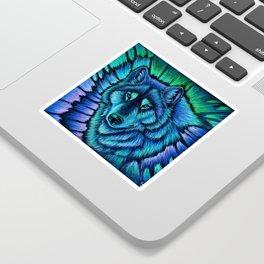 Blue Wolf Aurora Colorful Fantasy Sticker