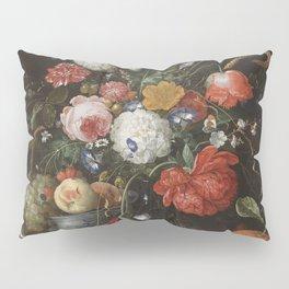 Jan Davidsz de Heem - Flower Still Life with a Bowl of Fruit and Oysters (c.1665) Pillow Sham