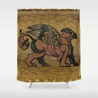 mythology Shower Curtains featuring Gryphon New Age Mythology Folk Art by BohemianBound