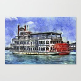 New Orleans Paddle Steamer Van Goth Canvas Print
