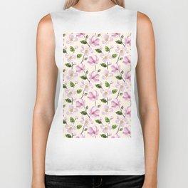Blush pink lavender ivory elegant floral pattern Biker Tank