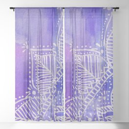 Mandala flower on watercolor background - purple and blue Sheer Curtain