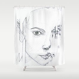 GLITCHING OUT Shower Curtain