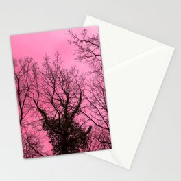 Scary naked trees, pink sky Stationery Cards
