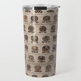 Maya Calendar Glyphs pattern wooden texture Travel Mug