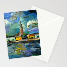 A Night of Color in Riga Stationery Cards