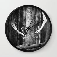 antler Wall Clocks featuring Antler Tree by J Witt Photography