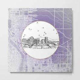 Portland, Oregon City Skyline Illustration Drawing Metal Print
