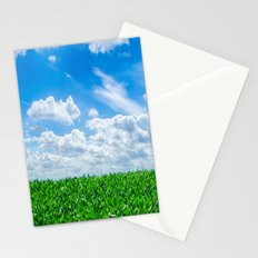 Green grass and blue sky Stationery Cards