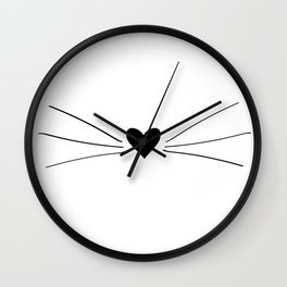 Cat Heart Nose & Whiskers Wall Clock
