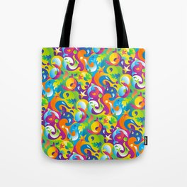 Dolphins, Seals and Sea Life in Tropical Ocean Waves Tote Bag