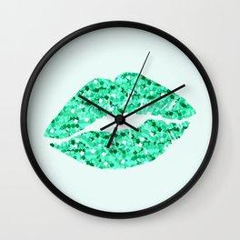 Green Glitter Lips Wall Clock