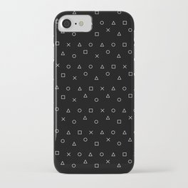black gaming pattern - gamer design - playstation controller symbols iPhone Case