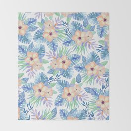 Tropical coral lilac lavender blue watercolor floral Throw Blanket