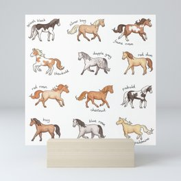 Horses - different colours and markings illustration Mini Art Print