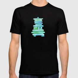 Sea Glass Cairn Watercolor - Teal and Blue T-shirt