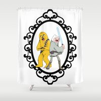 finn and jake Shower Curtains featuring Jedi Finn & Wookie Jake by createASAP