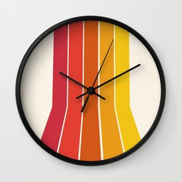 Rad - retro throwback 70s 1970s stripe beach 70's vibes minimal art Wall Clock