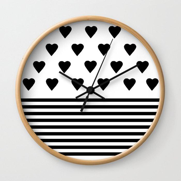 Heart Stripes Black on White Wall Clock