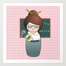 Kokeshi Teacher  Art Print