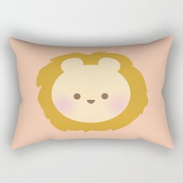 Lion Head - Orange Rectangular Pillow