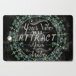 'Your Vibe Will Attract Your Tribe' Quote Mandala Marble Black Cutting Board