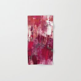 Sunset in the Valley [2]: a colorful abstract piece in reds, pink, gold, gray, and white Hand & Bath Towel