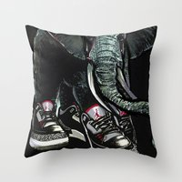 sneaker Throw Pillows featuring SNEAKER ELEPHANT by Juan Diaz