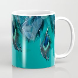 DREAMY FEATHERS & LEAVES - Deep Cyan Coffee Mug