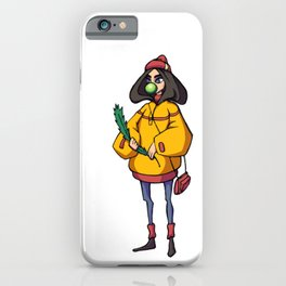 Girl with Christmas tree iPhone Case