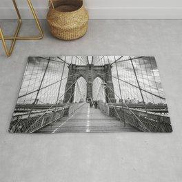 Brooklyn Bridge, New York City (rustic black & white) Rug
