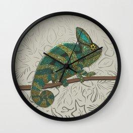veiled chameleon stone Wall Clock