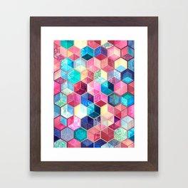 Topaz & Ruby Crystal Honeycomb Cubes Framed Art Print