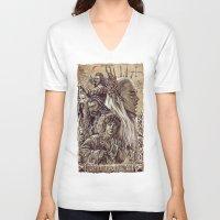 smaug V-neck T-shirts featuring The Hobbit - Desolation of Smaug Art by Tatiana Anor