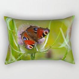 Peacock Butterfly on a Teasel Flower 4 Rectangular Pillow