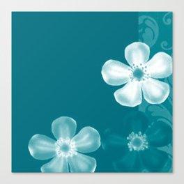 Retro 70s Flowers Turquoise Canvas Print