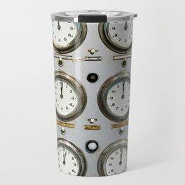 Retro clock faces on control panel Travel Mug
