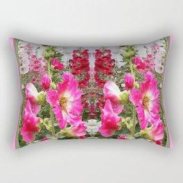 PINK & RED HOLLYHOCKS GARDEN ART Rectangular Pillow