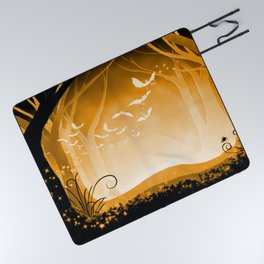 Dark Forest at Dawn in Amber Picnic Blanket