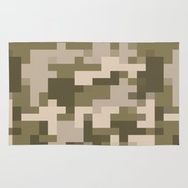 Army Camouflage Pixelated Pattern Light Brown Mountain Rug