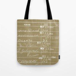 Library Card 23322 Negative Brown Tote Bag