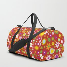 Flowers, Petals, Blossoms - Red Green Orange Duffle Bag