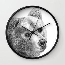 Shaggy Grizzly Bear Wall Clock