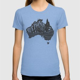 Australia map typo doodle T-shirt