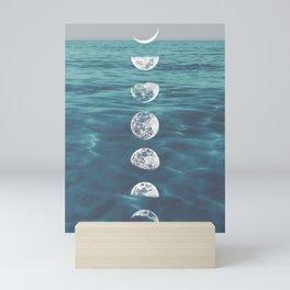Moon on Blue Ocean Mini Art Print