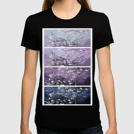 Vincent Van Gogh : Almond Blossoms Panel Art Dark Blue Purple Lavender T-shirt