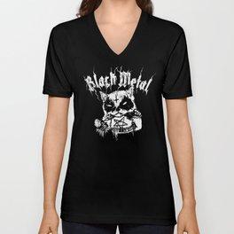 Grim Black Metal Corpse Paint Racoon! Unisex V-Neck