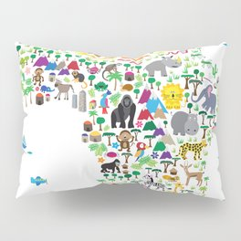 Animal Map of Africa for children and kids Pillow Sham
