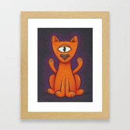 3-Eyed Cat Framed Art Print