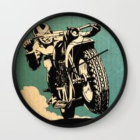 motorcycle Wall Clocks featuring Motorcycle Race by Fernando Vieira